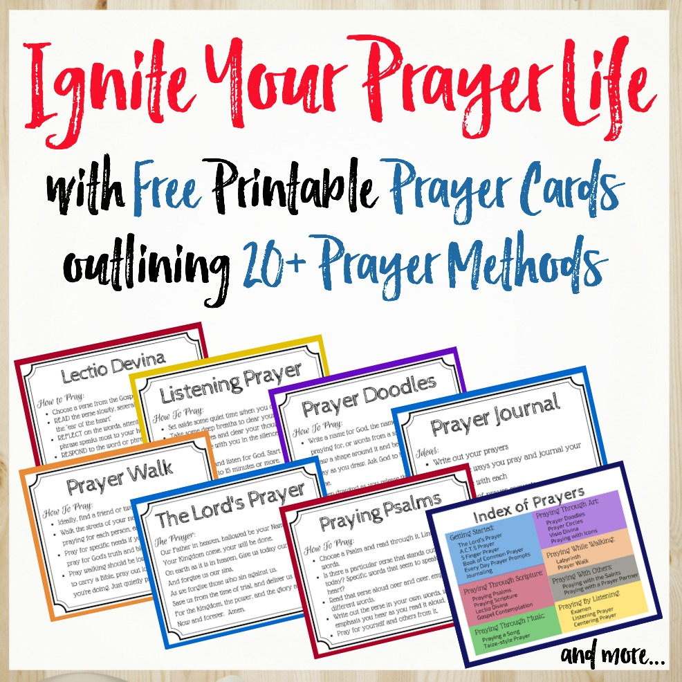 Ignite your prayer life with the Pray Deep Prayer Cards. Free printable prayer cards for 23 different ways to pray.